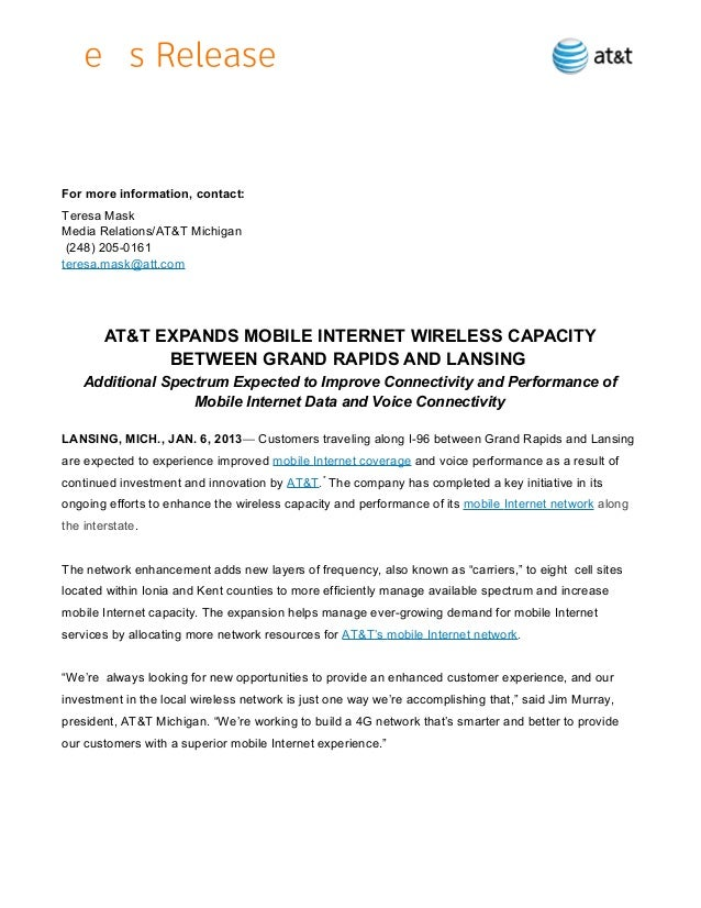 AT&T EXPANDS MOBILE INTERNET WIRELESS CAPACITY BETWEEN GRAND RAPIDS AND LANSING