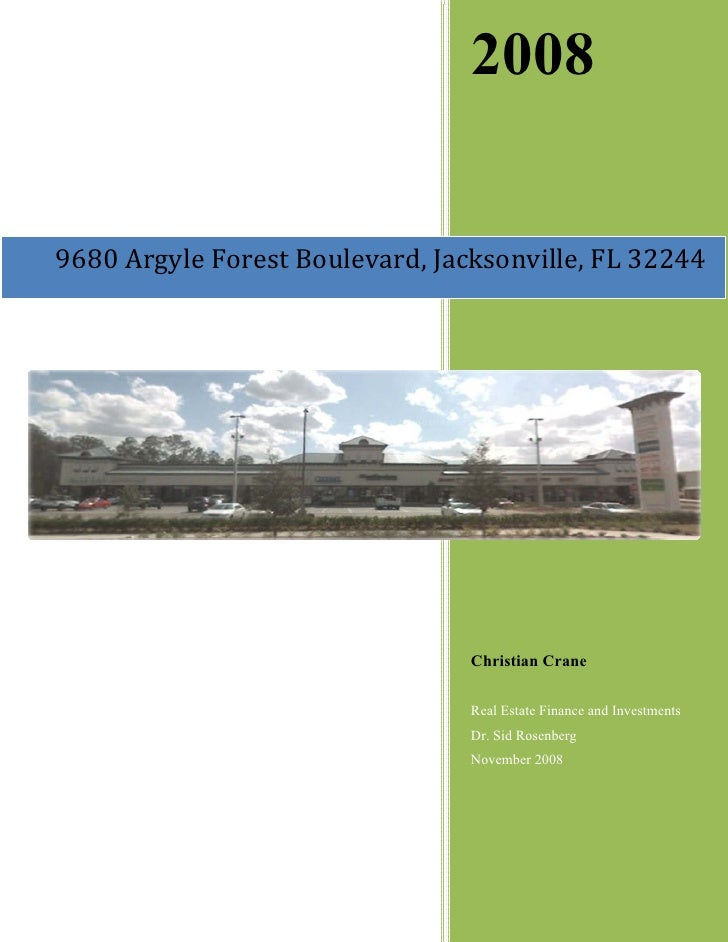 Retail Shopping Center Financial Analysis Project