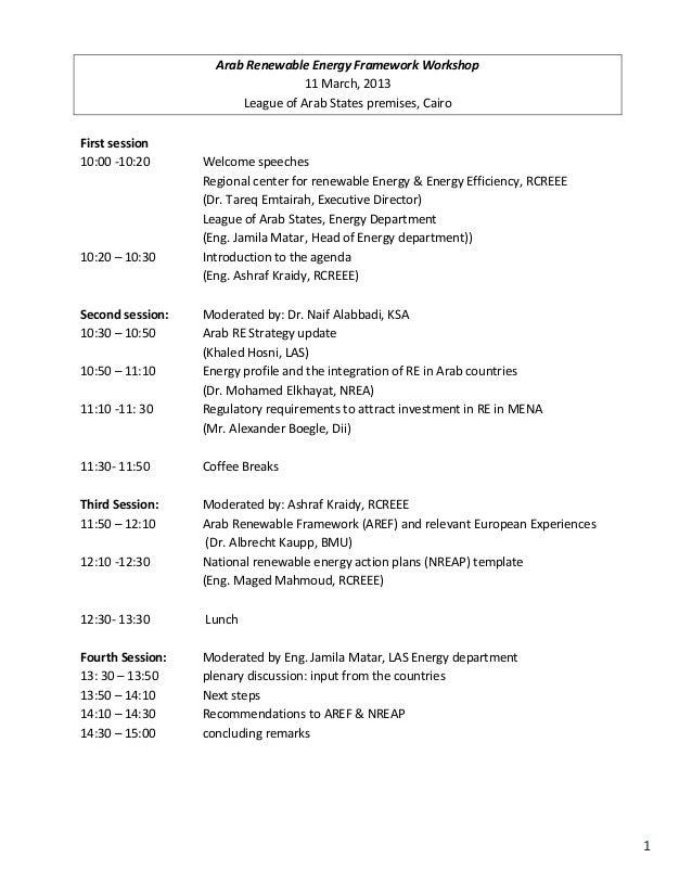 Arab Renewable Energy Framework Workshop                                   11 March, 2013                        League of...