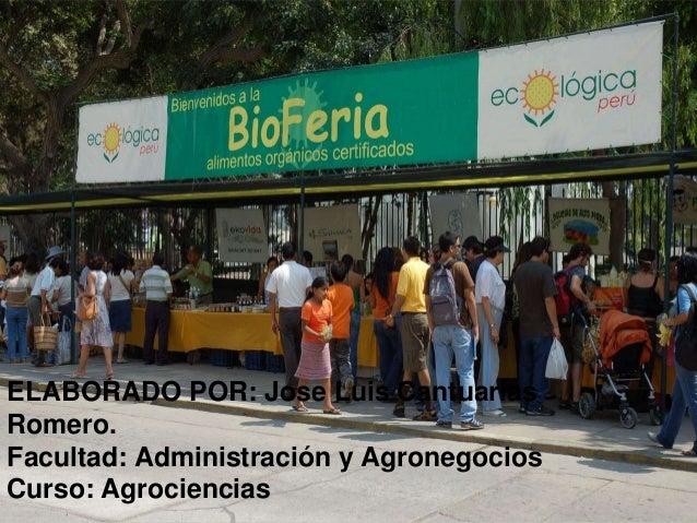 ELABORADO POR: Jose Luis Cantuarias Romero. Facultad: Administración y Agronegocios Curso: Agrociencias