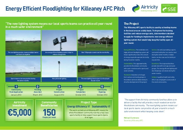 "Energy Efficient Floodlighting for Killeaney AFC Pitch""The new lighting system means our local sports teams can practice a..."