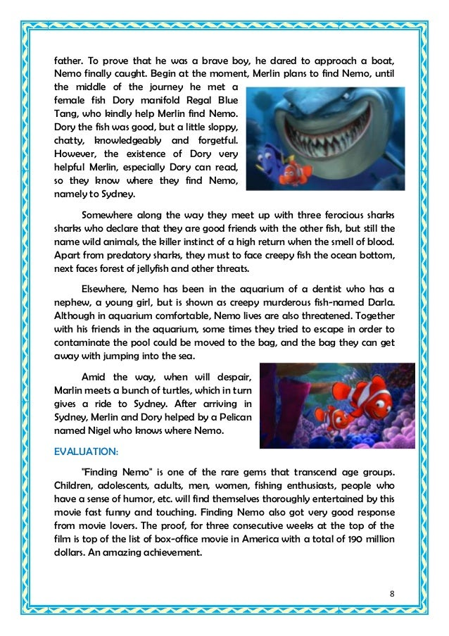 finding nemo summary Read the full synopsis of finding nemo, 2003, directed by andrew stanton, with albert brooks, ellen degeneres, alexander gould, at turner classic movies.