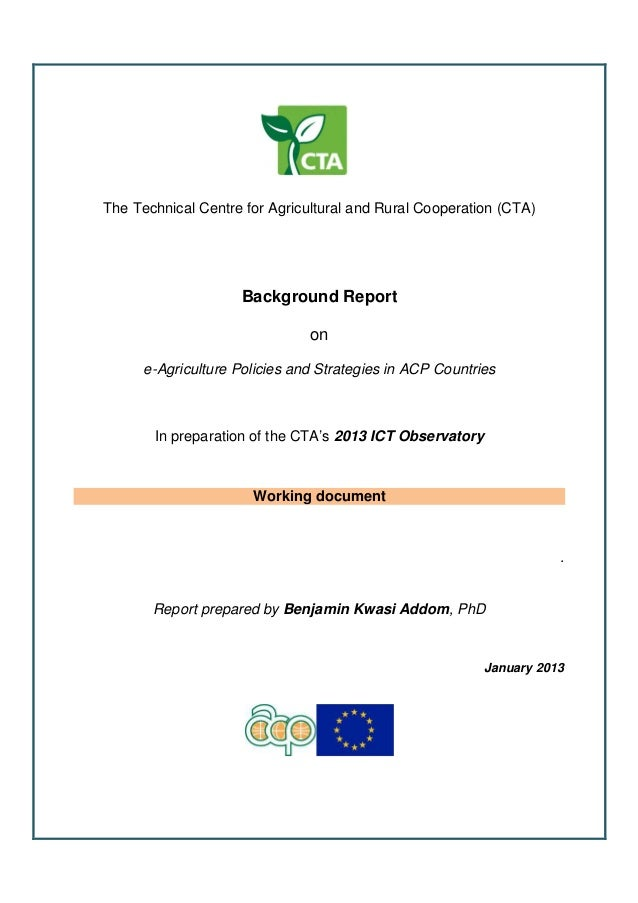 Final background report - e-agriculture strategies in ACP