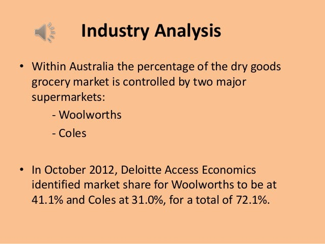 financial analysis coles myer woolworths Recent reports have included an analysis of woolworths 34% coles myer 28% metcash 13% fal 12% foodstuffs 8% franklins 2% aldi 1% other 2% woolworths had a number of significant achievements in the 2002 financial year woolworths achievements (2002.