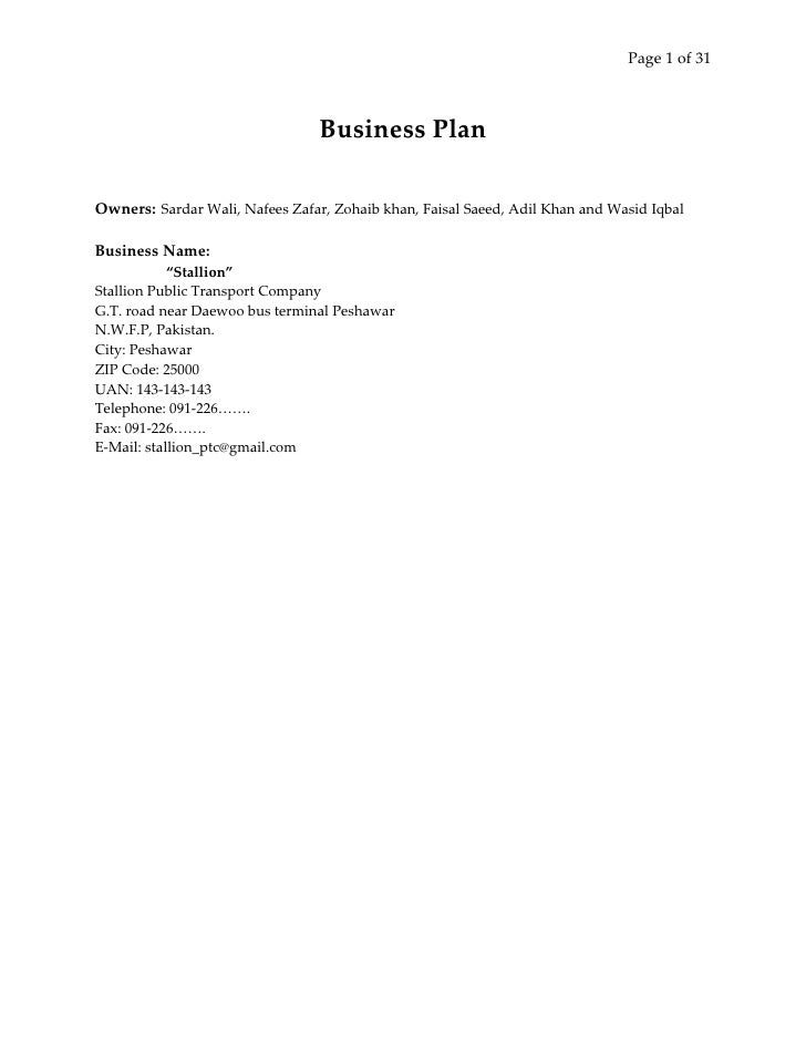 Page 1 of 31                                     Business Plan  Owners: Sardar Wali, Nafees Zafar, Zohaib khan, Faisal Sae...