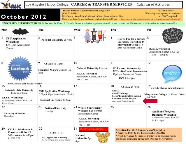 Los Angeles Harbor College CAREER & TRANSFER SERVICES                                                            Calendar ...