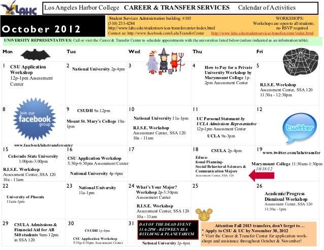 Transfer & Career Center Calendar of Events