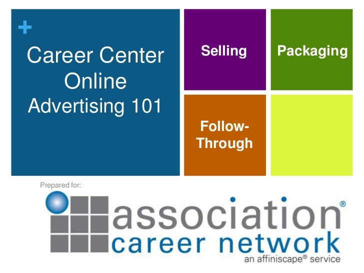 Career Center Online Advertising 101<br />Selling<br />Packaging<br />Follow-Through<br />Prepared for:<br />1<br />