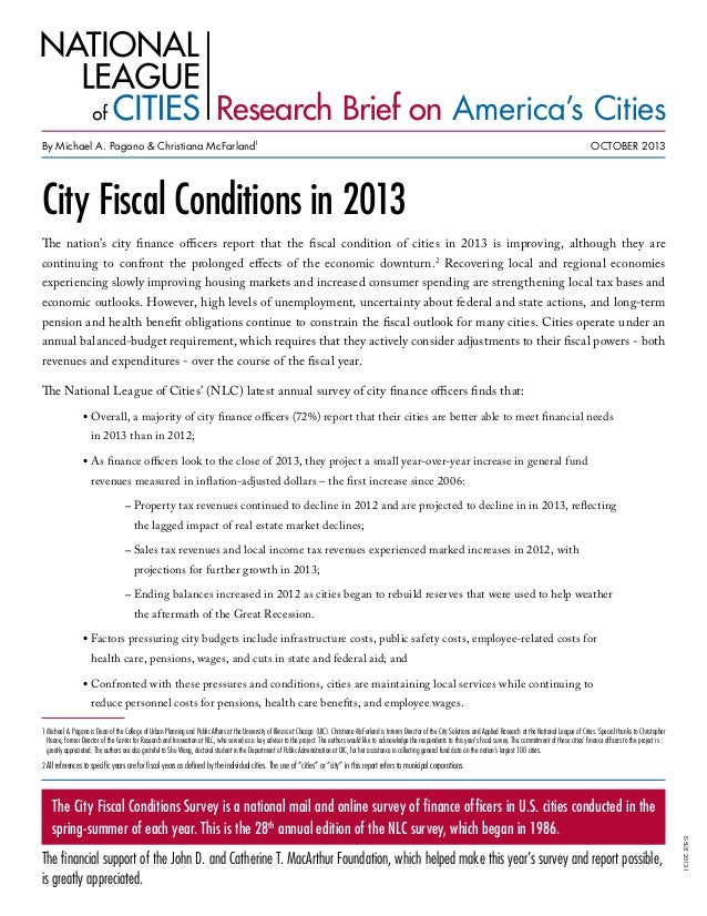 City Fiscal Conditions in 2013