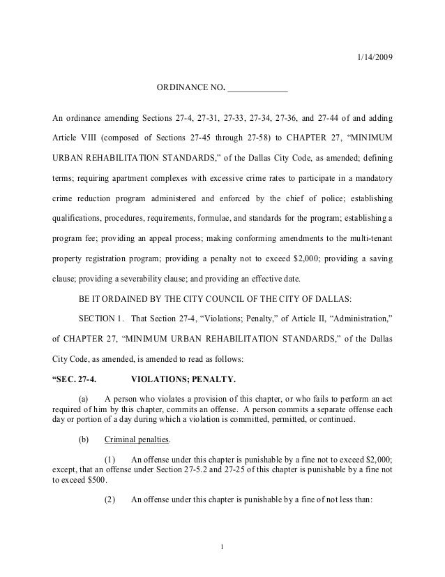 1 1/14/2009 ORDINANCE NO. An ordinance amending Sections 27-4, 27-31, 27-33, 27-34, 27-36, and 27-44 of and adding Article...