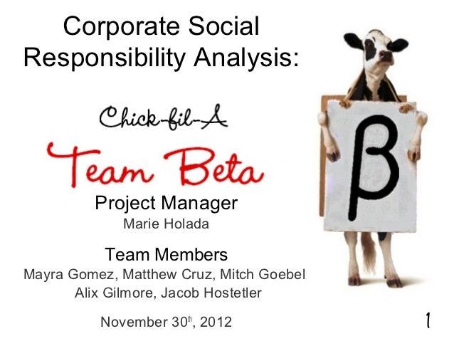 Corporate SocialResponsibility Analysis:          Project Manager             Marie Holada           Team MembersMayra Gom...