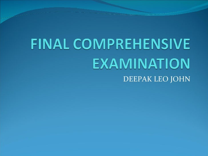 Final Comprehensive Examination