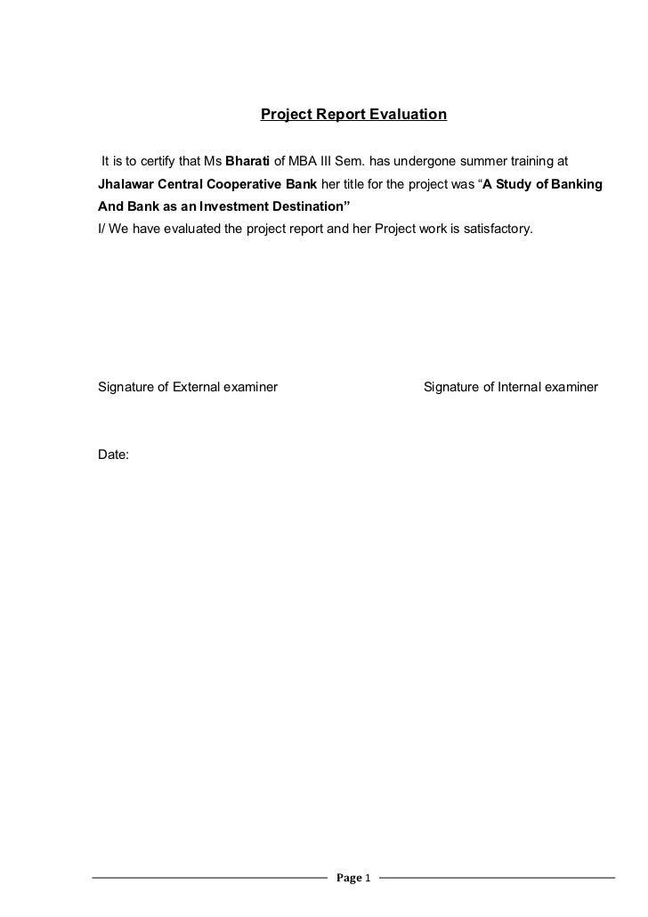 Co Oparative Bank Training Project Report Bharati Nama