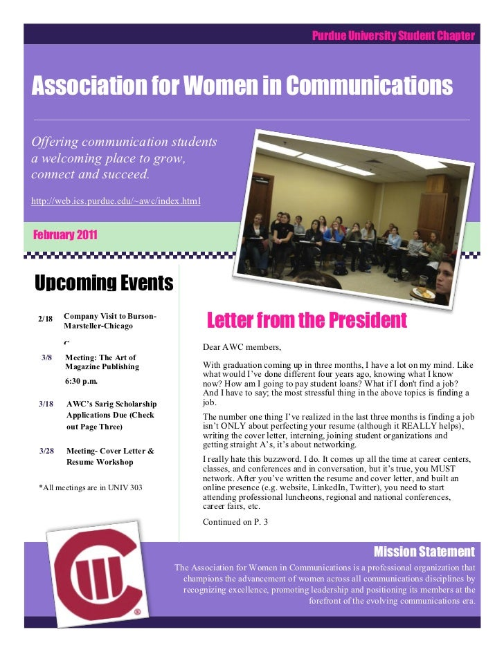 Purdue University Student ChapterAssociation for Women in CommunicationsComCOComCommunicationsOffering communication stude...