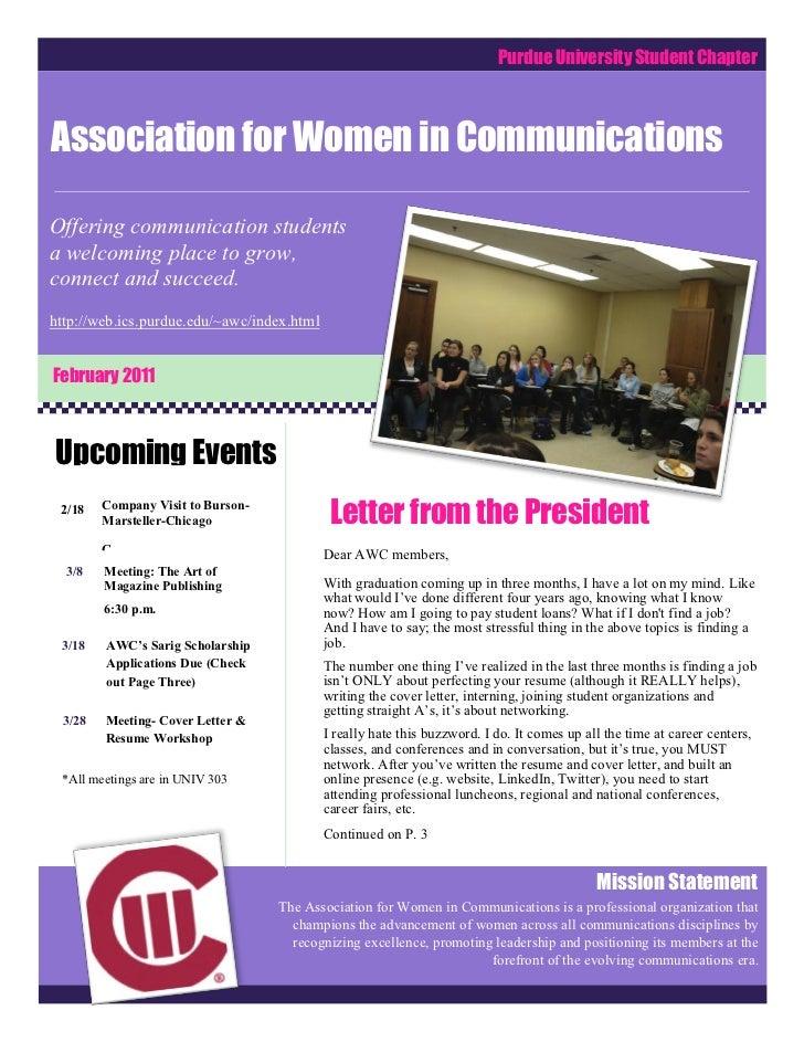 Purdue University Student ChapterAssociation for Women in CommunicationsComCOComCommunicationsOffering communication stude...