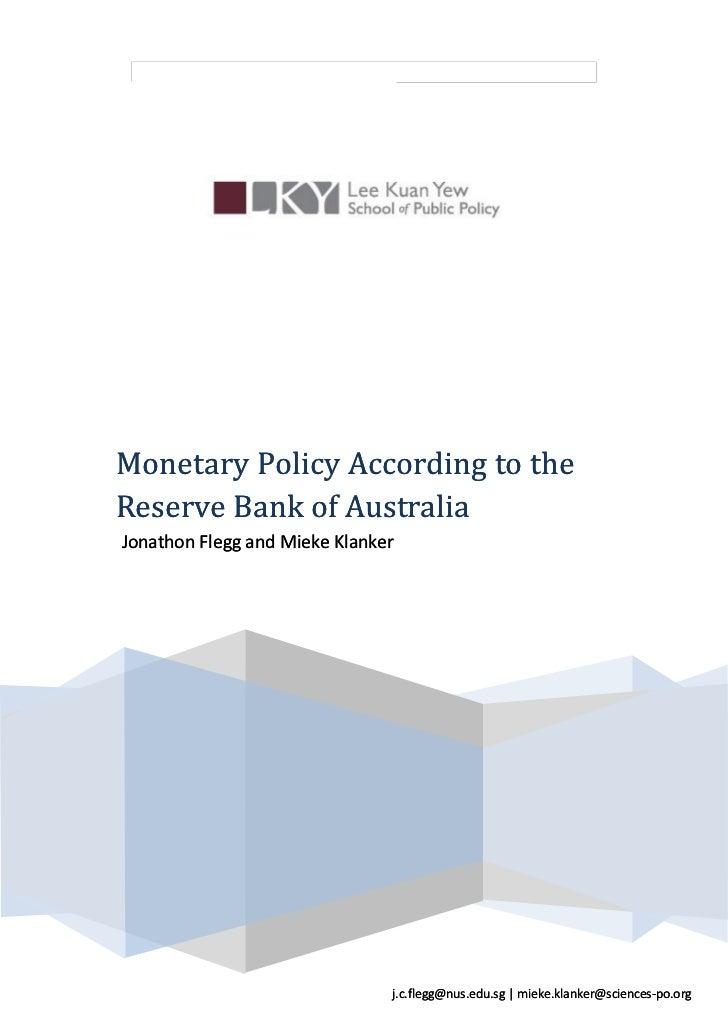 ECE DepartmentMonetary Policy According to theReserve Bank of AustraliaJonathon Flegg and Mieke Klanker                   ...