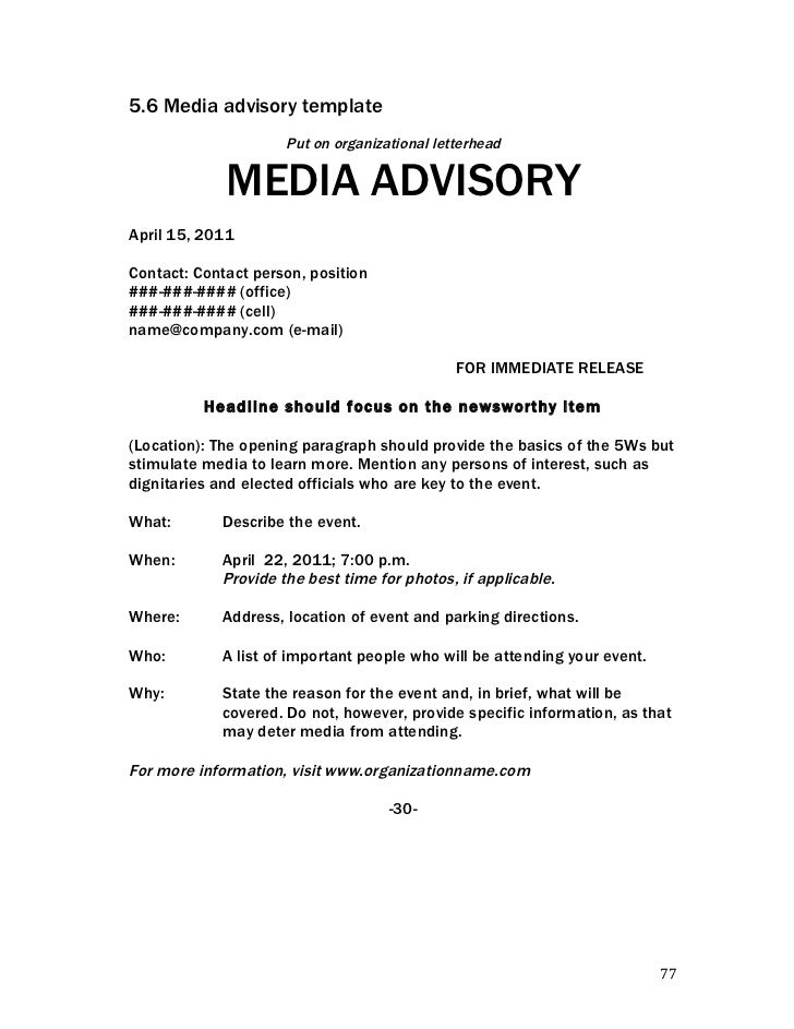 Crisis communications handbook for Event press release template word