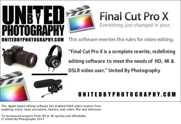 This software rewrites the rules for video editing. Final Cut Pro X is a complete rewrite, redefining editing software to m...
