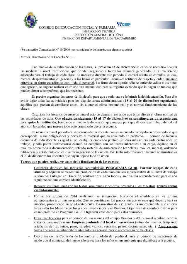 CONSEJO DE EDUCACIÓN INICIAL Y PRIMARIA INSPECCIÓN TÉCNICA INSPECCIÓN GENERAL REGIÓN 1 INSPECCIÓN DEPARTAMENTAL DE TACUARE...