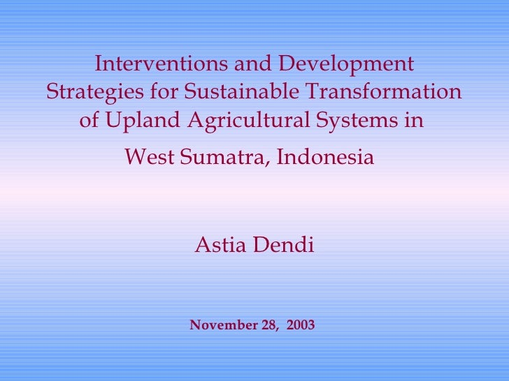 Interventions and Development Strategies for Sustainable Transformation of Upland Agricultural Systems in  West Sumatra, I...