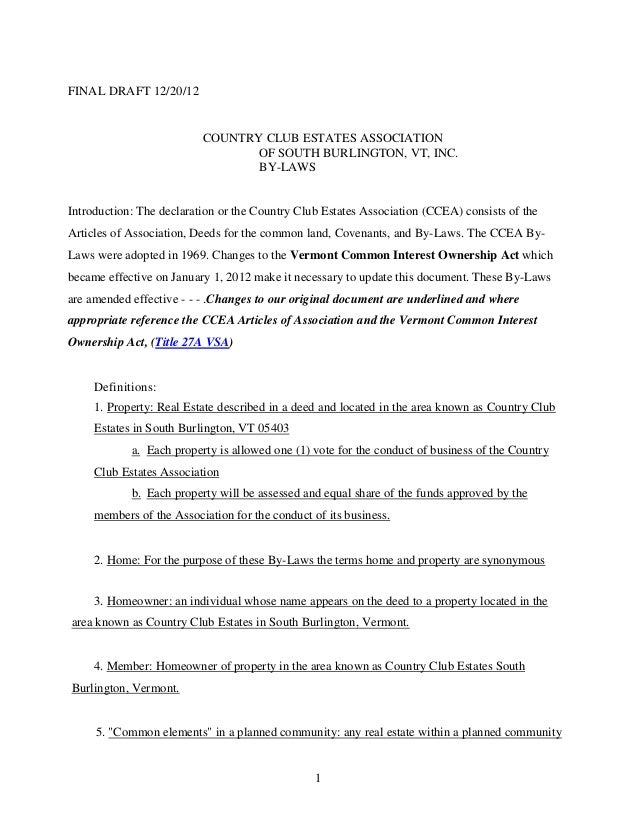 FINAL DRAFT 12/20/12                          COUNTRY CLUB ESTATES ASSOCIATION                                 OF SOUTH BU...