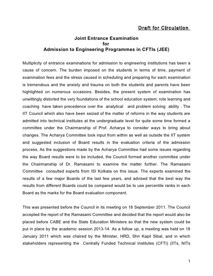 Draft for Circulation                       Joint Entrance Examination                                   for           Adm...