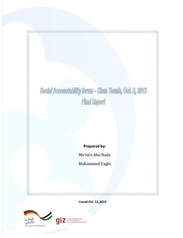 Prepared by: Mo'min Abu Nada Mohammed Yaghi  Issued Oct. 13, 2013