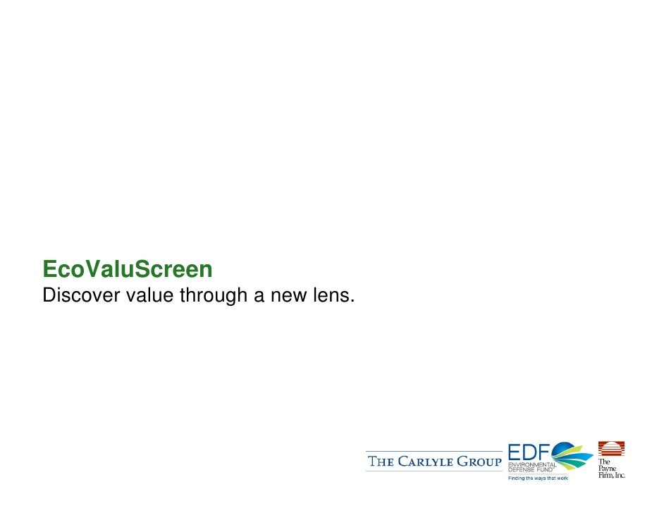 EcoValuScreen Discover value through a new lens.