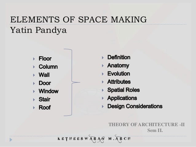 Elements Of Design Definition : Elements of space making