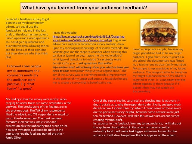 What have you learned from your audience feedback? I created a feedback survey to get opinions on my documentary advert, s...