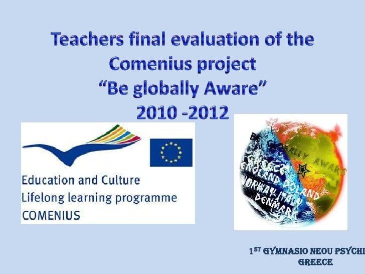 Final evaluation teachers