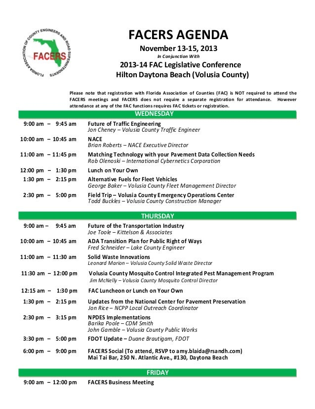 FACERS AGENDA November 13-15, 2013 In Conjunction With  2013-14 FAC Legislative Conference Hilton Daytona Beach (Volusia C...