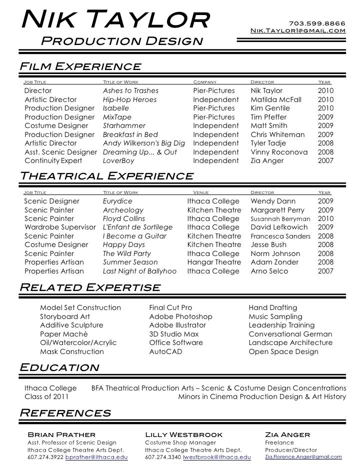 film theatre resume - Film Resume Template