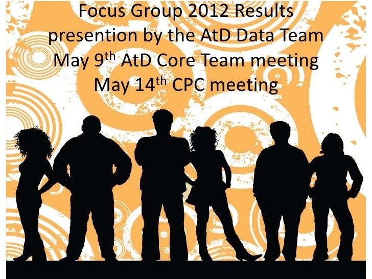 Final focus groups 2012