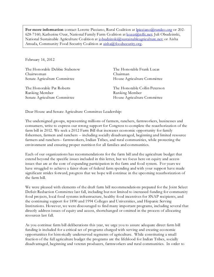 Equity Letter on the 2012 Farm Bill