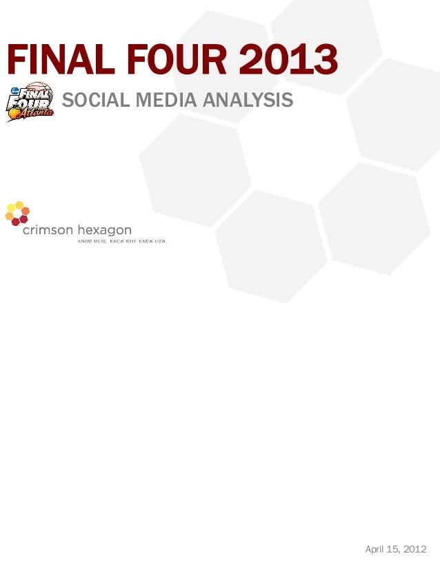 FINAL FOUR 2013  SOCIAL MEDIA ANALYSIS                          April 15, 2012