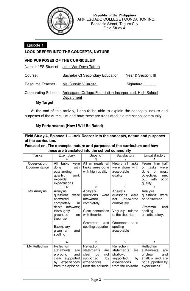 Page 2 Republic of the Philippines ARRIESGADO COLLEGE FOUNDATION INC. Bonifacio Street, Tagum City Field Study 4 LOOK DEEP...