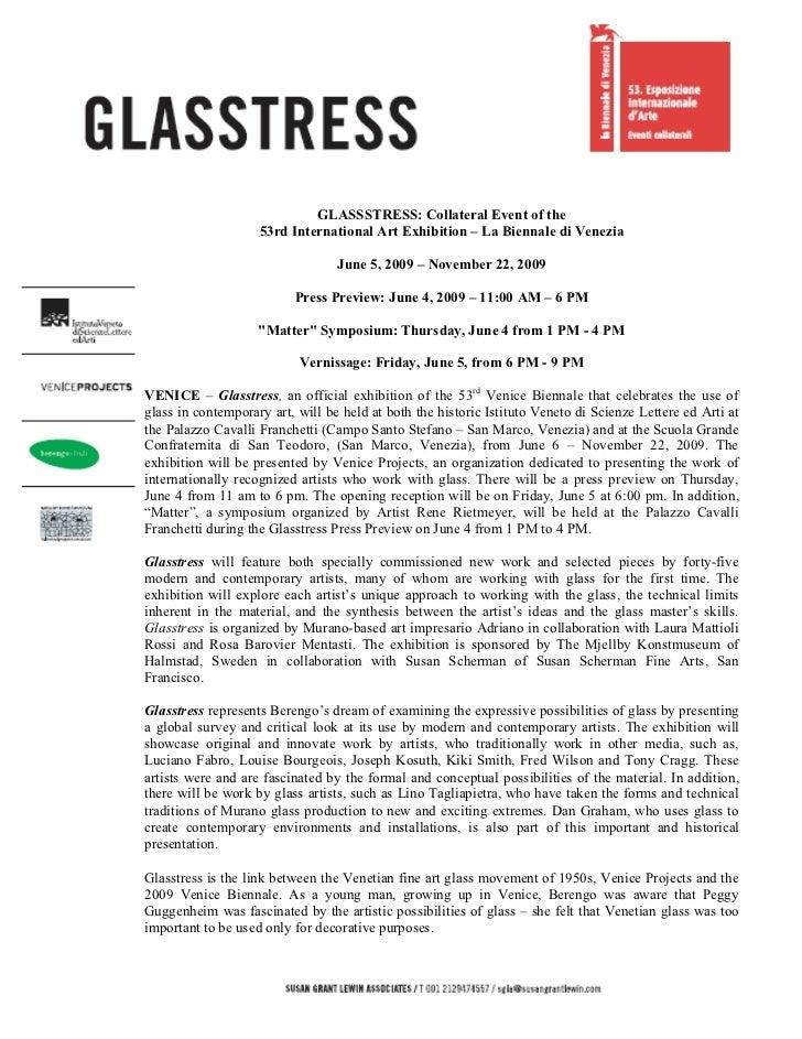GLASSSTRESS: Collateral Event of the                    53rd International Art Exhibition – La Biennale di Venezia        ...
