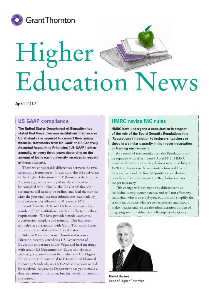HigherEducation NewsApril 2012 US GAAP compliance                                         HMRC revise NIC rules The United...