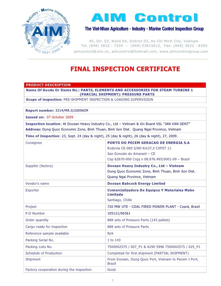 FINAL INSPECTION CERTIFICATE  PRODUCT DESCRIPTION Name Of Goods Or Items No.: PARTS, ELEMENTS AND ACCESSORIES FOR STEAM TU...