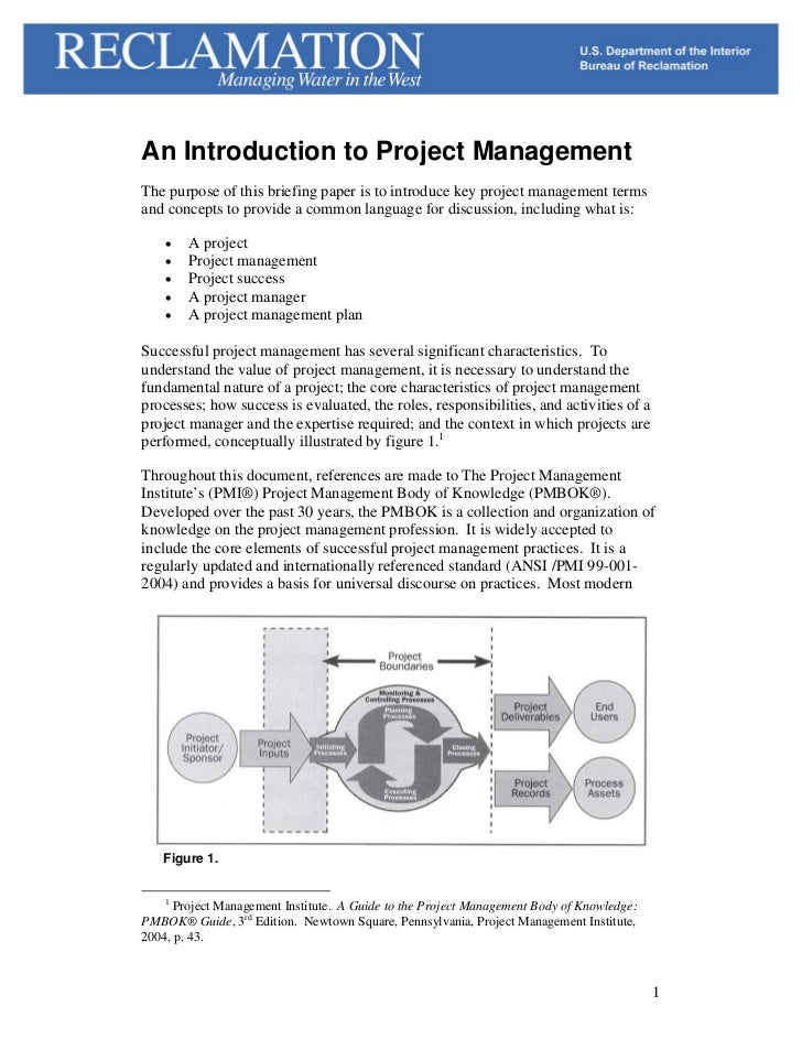 An Introduction to Project ManagementThe purpose of this briefing paper is to introduce key project management termsand co...