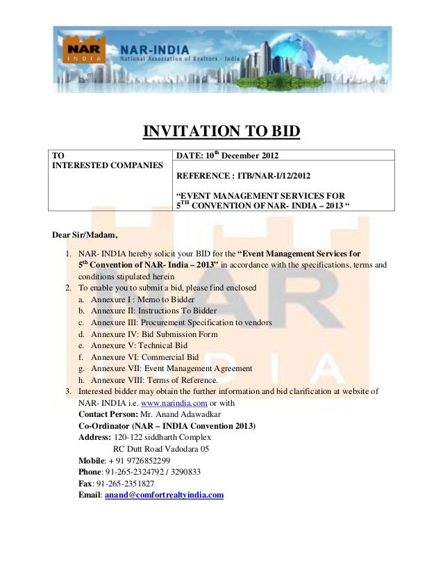 Invitation to Bid for Fifth Convention of NAR - INDIA