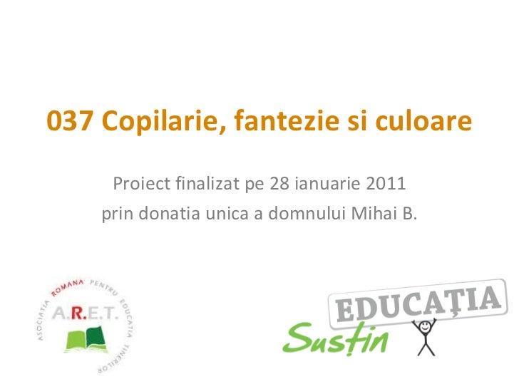 037 Copilarie, fantezie si culoare Proiect finalizat pe 28 ianuarie 2011 prin donatia unica a domnului Mihai B.