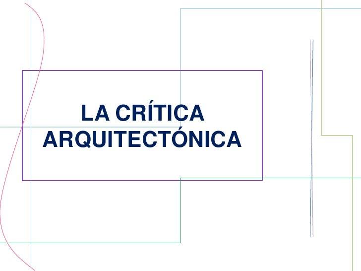 Final la crítica arquitectónica