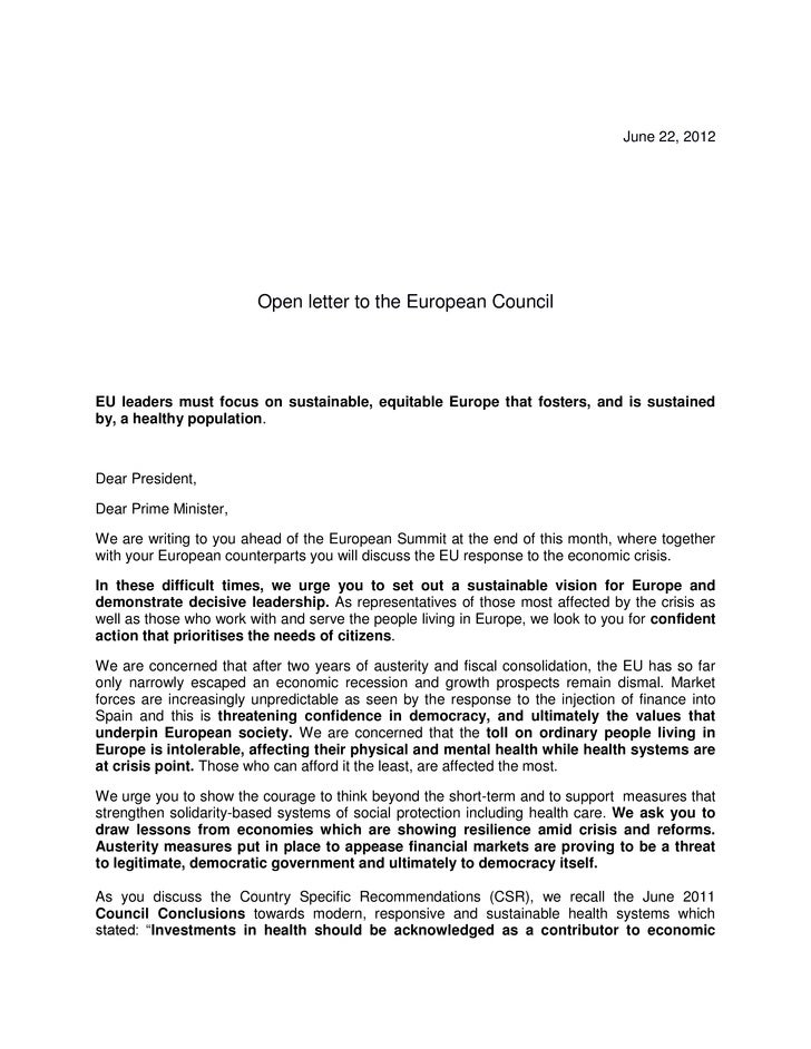 June 22, 2012                        Open letter to the European CouncilEU leaders must focus on sustainable, equitable Eu...