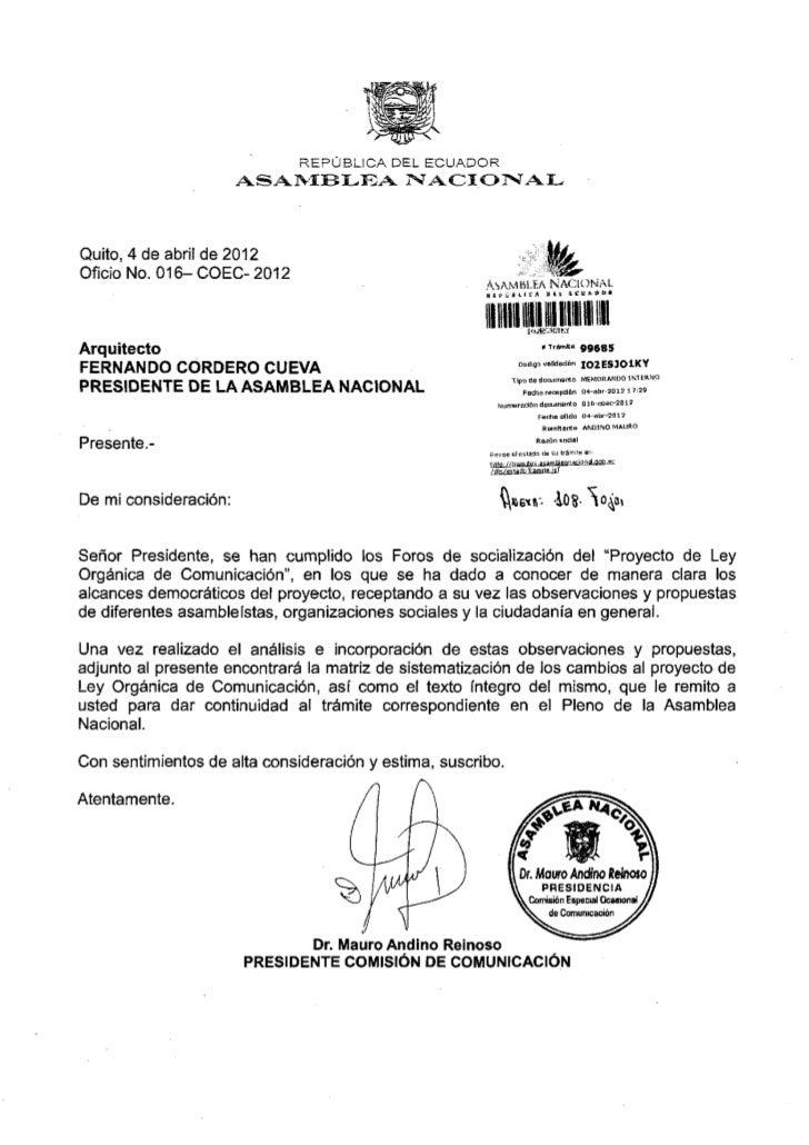 R E P Ú B L I C A DEL E C U A D O R                          ASAMBLEA NACIONALQuito, 4 de abril de 2 0 1 2Oficio No. 0 1 6...