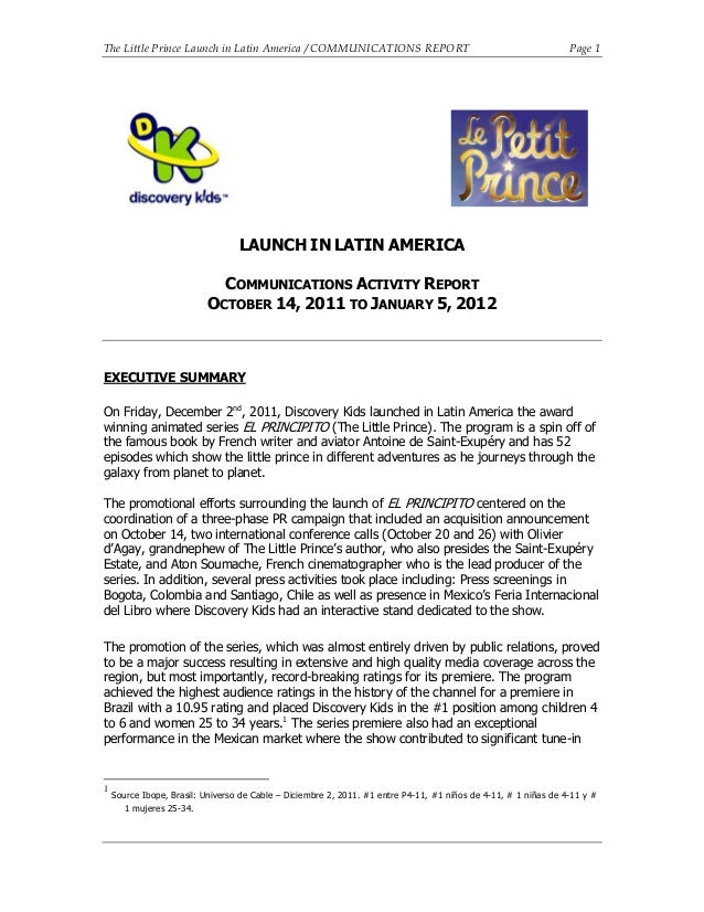 Launch of The Little Prince Animated Series in Latin America - Final Report. January, 2012