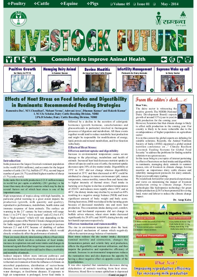 Volume 05 Issue 01 May - 2014 7 An Important Dairy Cattle DiseaseIn Summer Seasonfor Dairy In FY15 Bovine Mastitis to Dair...