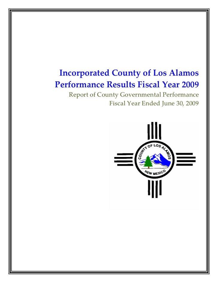 IncorporatedCountyofLosAlamos PerformanceResultsFiscalYear2009    ReportofCountyGovernmentalPerformance    ...