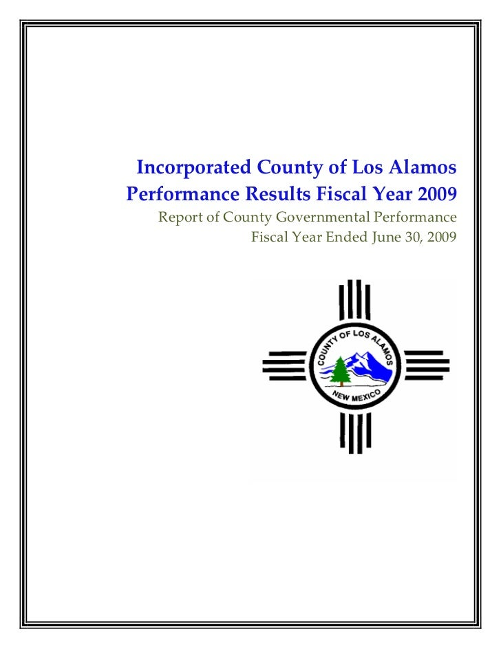 Final Los Alamos FY2009 Performance Report 04.05.10